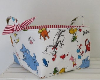 "READY TO SHIP - Fabric Organizer Bin Toy Storage Container Basket - Licensed Dr. Seuss Cat in the Hat White Fabric- 10"" x 10"" x 7"" tall"