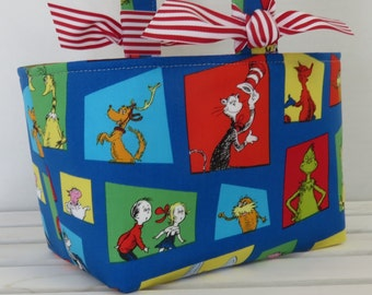 Easter Candy Basket Bin Storage - Made with Licensed Dr. Seuss Cat in the Hat Multi-Color Squares Fabric