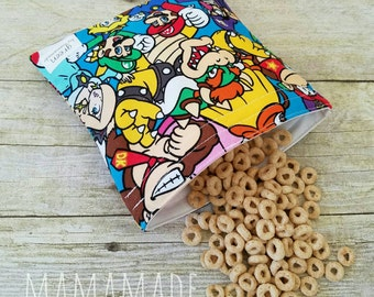 Video Game Brothers - Medium Reusable Sandwich Bag from green by mamamade
