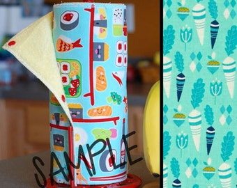 Unpaper Towel | Reusable Paper Towel - Root Veggies on Aqua (0433977) Tree Saver Towel | Kitchen Towel | Snapping Cloth Paperless Towel