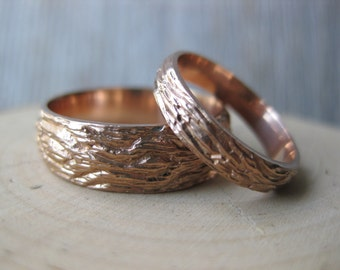 Rose Gold OAK wood grain wedding band SET 14 kt gold woodgrain matching rings faux bois Made to Order mens womens