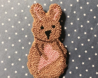 Primitive Needle Punch Pin Spring Bunny and Pink Heart