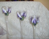 Glass Candle Holders, Purple and White