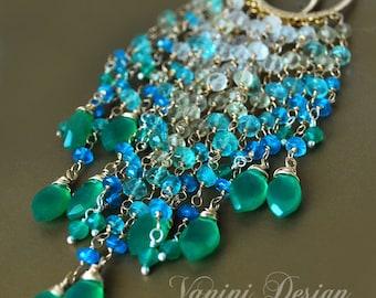 Summer sky - 14k gold fill, fine silver, gemstones long hoop earrings