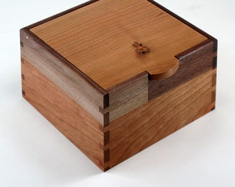 Wooden Box with Lid, Knotty Cherry, Black Walnut, Maple