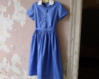 French Blue Made in France School Girl Dress Size 10