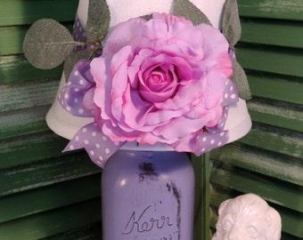 Whimsical Purple Mason Jar Lamp, Shabby Chic Lamp, Girl's Room Decor, Canning Jar Lamp, Romantic Decor