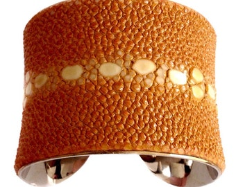 Burnt Pumpkin Orange Multiple Spine Stingray Cuff Bracelet - by UNEARTHED