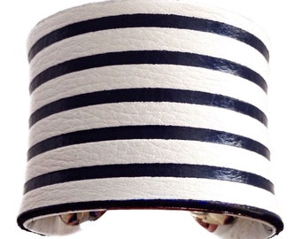 Navy Blue Leather Nautical Stripe Cuff Bracelet - by UNEARTHED