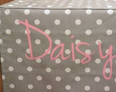 DESIGNER Dog Crate Cover - YOU Choose Fabric - Polka Dot Storm shown - Dog Bed Duvet Covers - Personalization Extra
