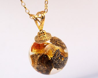 Round Resin Pendant with Amber, Resin pendant, Resin Jewelry, 24KGold Plated Sterling Silver