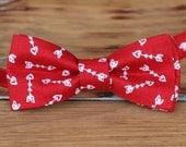Men's Valentine's bow tie | red white arrow heart cotton bow tie for men teen | bow tie gift for guy | anniversary bow tie | wedding | love