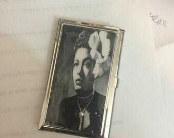 Billie Holiday in Gardenia Business Card Holder Credit Card I.D. Case