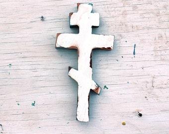 Byzantine Cross, White Greek Cross, Ukranian Cross, Wood Russian Cross, Wood Wall Cross, Salvaged Wood Cross, Eastern Orthodox Cross,