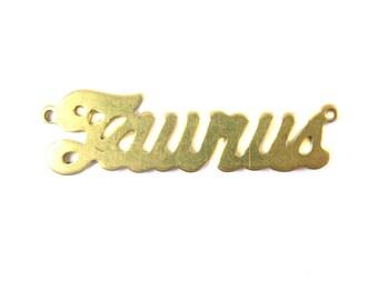 Brass Astrological Name Plate Pendants - Taurus (2X) (A605-A)