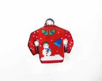 Rhodium Plated Red Ugly Christmas Sweater Charms (2x) (K314-B)