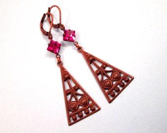 Rhinestone Earrings, Fuschia Glass Stones, Copper Triangle Pendants, Long Dangle Earrings, FREE Shipping U.S.
