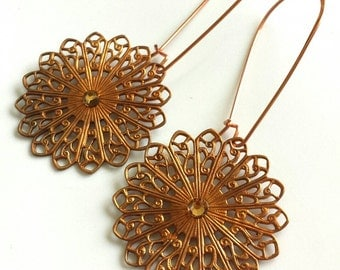 Copper Lace Filigree Chandelier Earrings with Kidney Wires and Swarovski Crystal Accents Bohemian