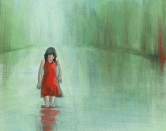 Getting To Know Me - Original Acrylic Painting of a girl in red dress looking at her reflection in the lake green sea