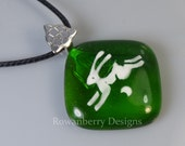 Handmade Fused & Painted Glass Leaping Hare and Moon Pendant Necklace - Rowanberry SRA