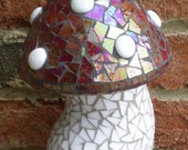 Red and White Stained Glass Mosaic Mushroom Garden Art