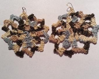 Snowflake Crochet Earrings Multi Colored