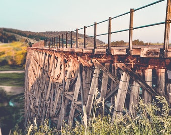 "train trestle, fine art photography, rustic wall art, industrial decor, masculine wall art, trains, landscape, art - ""Spring Creek Trestle"""