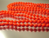 Vintage antique Art Deco/ estate, 1920s 1930s long length flapper bright red glass bead costume necklace - jewellery jewelry