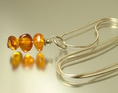 Vintage/ estate 1990s sterling silver 925 and Baltic amber nugget pendant and chain - jewelry / jewellery