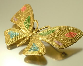 Vintage/ antique 1930s/ 40s, gold tone, painted butterfly insect bug brooch / pin - estate jewelry, costume jewellery