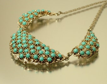 Vintage/ estate 1960s signed Sphinx retro/ kitsch, silver tone and turquoise glass, costume necklace - jewelry jewellery