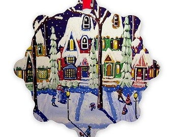 Snow Day Whimsical Colorful Folk Art Holiday Snowflake Aluminum Ornament