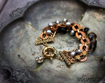 Vintage Brass, Fresh Water Pearl and Smoky Quartz One of a Kind Bracelet...Luxe Seven