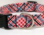 Must be Red Plaid Handmade Dog Collar
