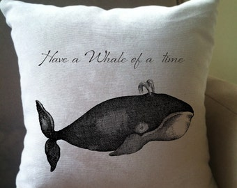 whale decorative throw pillow cover