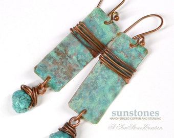 Rustic Copper Earrings with Turquoise E914