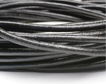 Black Rolled Leather 4mm diameter