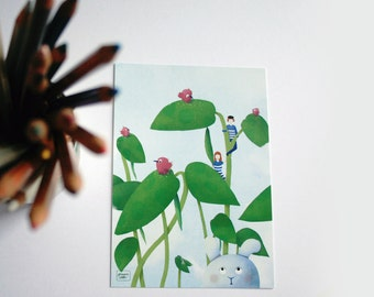 Jack and the beanstalk - illustrated postcard