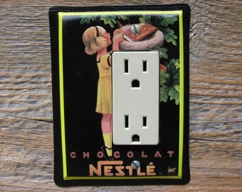 Black Decor Rocker Light Switch Plate GFCI Cover Made From An Old Nestle Chocolate Decorative Tin Can GFC-3075