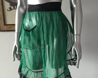 1950s Sheer Green and Black Ruffle Apron