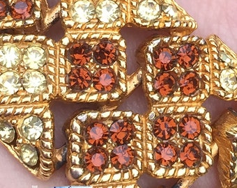 Vintage BARCS F333 gold bracelet with clear and amber diamantes