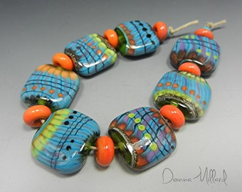 HANDMADE LAMPWORK BEAD Set Donna Millard sra spring summer turquoise orange lime green boho gypsy organic tribal