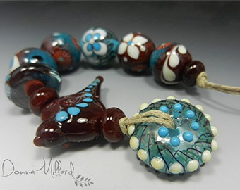SRA HANDMADE LAMPWORK Beads Donna Millard tribal gypsy hippie totem bird sparrow autumn fall  brown turquoise