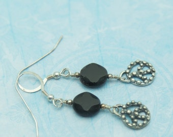 SALE- Black Pressed Glass Peace Earrings