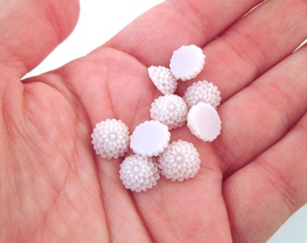 12 10mm chrysanthemum flower cabochons, palest lavender round floral itty bitty mum cabs