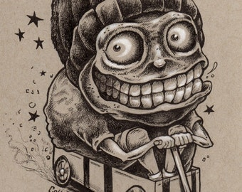 Adopt a Monster #3 crazy kid in a wagon original ink drawing