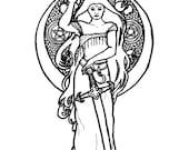 Downloadable coloring page Lady of Avalon fantasy art nouveau