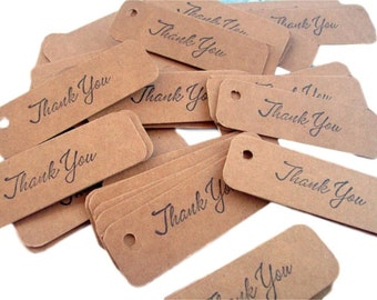 50 chipboard thank you tags 1x3 inch or 2.54 cm x  7.62 cm