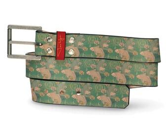 Koi II Leather Belt, Koi Fish Leather Belt, Koi Fish Belt, Blue Leather Belt