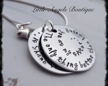 Special Sister Aunt Necklace from Niece Nephew Hand Stamped Pendant and chain